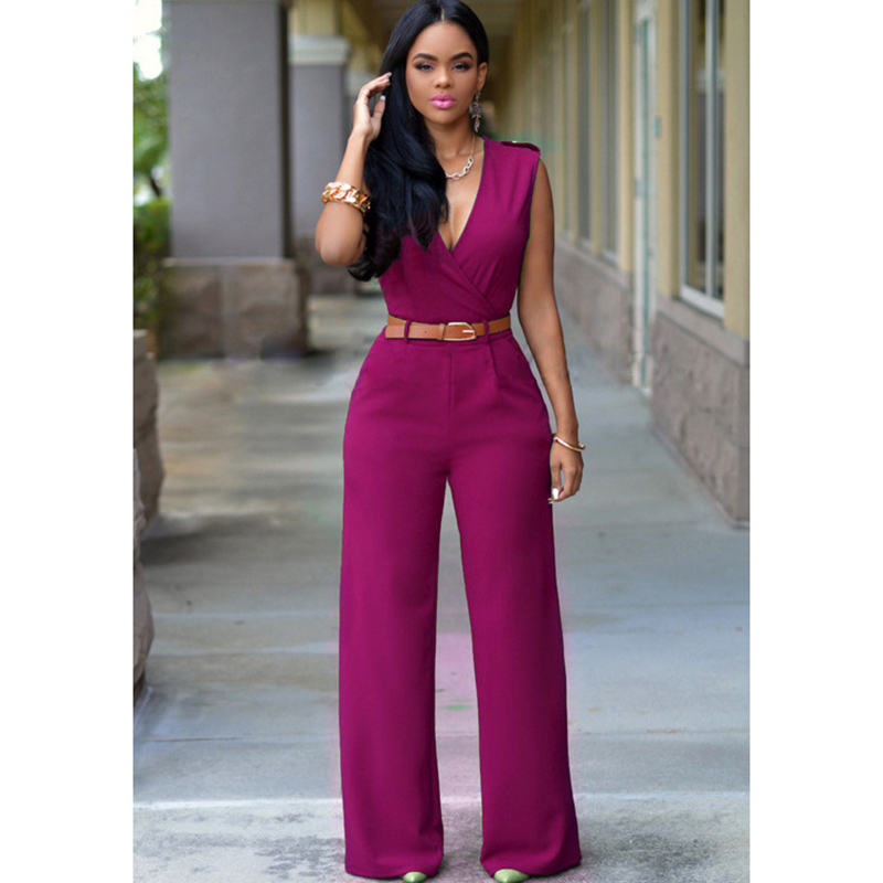 Youthful sexy commuter milk silk solid color high waist V neck straight wide leg trousers with belt jumpsuit free shipping in Jumpsuits from Women 39 s Clothing