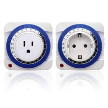 24 Hours Mechanical Timer Indoor Plug-in Grounded Electric Outlet 230V EU/US Plug Wall Protector Energy Saveing
