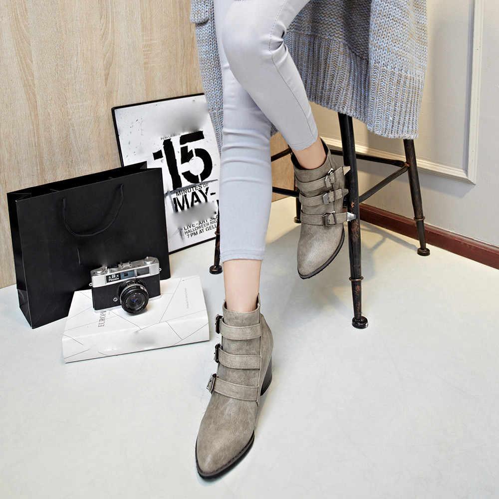 2019 г. зимняя обувь женская обувь на высоком каблуке с ремешком и пряжкой модные пикантные женские зимние ботинки на молнии сзади женская обувь