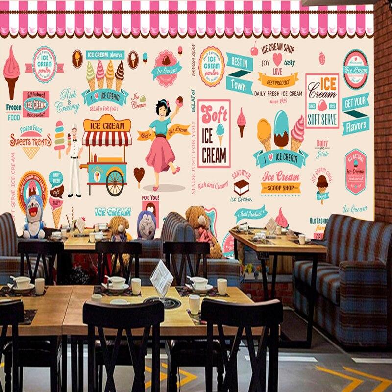 Gentile Trasporto Di Goccia Personalizzato Murale Carta Da Parati Ice Cream Ice Cream Coffee Shop Negozio Di Tè Ristorante Sfondo Decorazione Carta Da Parati Superficie Lucente