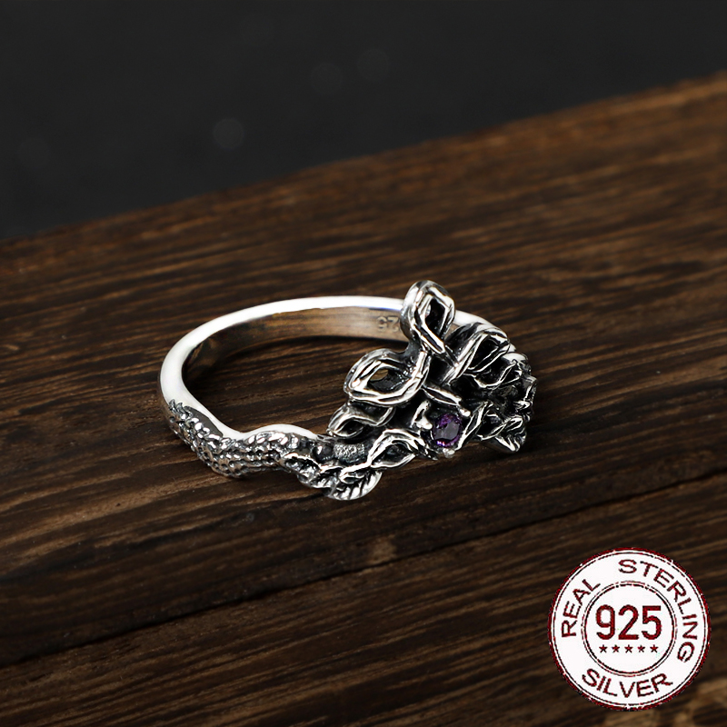 S925 Sterling Silver Norse Celtic Knot Ring With Natural Purple Zircon With Vintage Wood Box As Gift