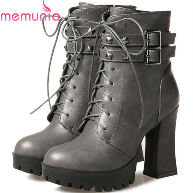 MEMUNIA Motorcycle boots fashion shoes woman high heels ankle boots for women in spring autumn platform boots big size 34-43