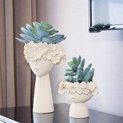 1 Pair Creativo Testa Umana Vaso di Stoccaggio di Articoli Vari Box In Resina Decorativa Vaso di Giorno della Madre Modello di Casa Decorazione Della Stanza Ornamenti