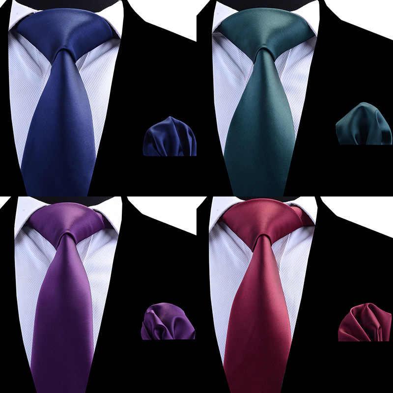 b3330979 ... RBOCOTT Mens Plain Tie Set 8cm Necktie Handkerchief Set Solid Color  Green Red Waterproof Neck Ties ...