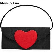 Las mujeres bolso minimalista vintage corazón rojo Diagonal bolso Simple con corazón rojo mejor regalo para la novia