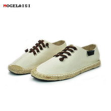 Men shoes Linen Canvas Weave EU Size 39 to 44 shoes Sole spring and autumn Chinese style shoelace US size 6.5 to 10 X35(China)