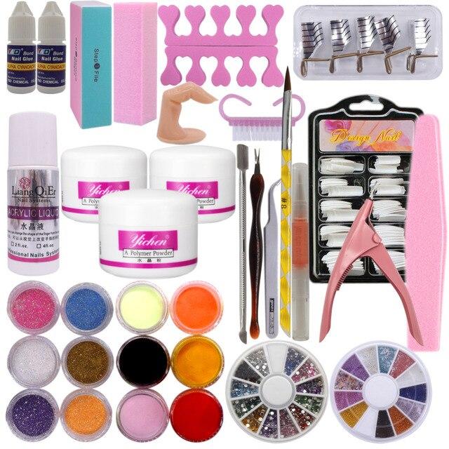 2018 New Acrylic Nail Kit Clear Pink White Powder Liquid Brush Glitter Clipper