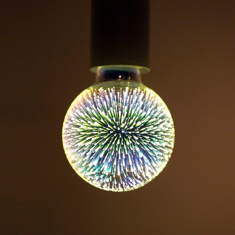 LED Light Bulb E27 5W A60/ST64/G80/G95 3D Fireworks Decorative Warm White Edison Bulb Party Decor Lamp Holiday Lighting 85-265V