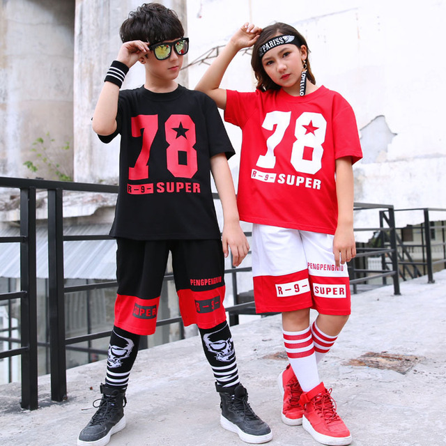 84781c1f25df European Kids Hip Hop Streetwear For Boys Summer Cotton T Shirts With  Numbers And Sport Shorts