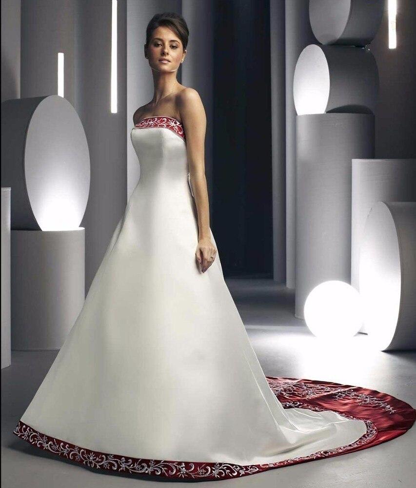 Wedding Dress Gothic Style White and Beading Burgundy Zipper Back