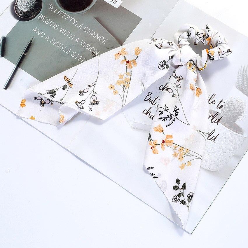 Levao fleur impression cheveux écharpe arc chouchous queue de cheval bandeau pour femmes cheveux accessoires nœud papillon élastique cheveux corde bandeaux 21