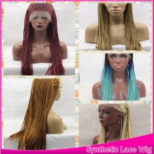 Ombre Micro Box Braids Wig 1BT Blue T Green/Brown/Red Synthetic Lace Front 12-26 Wig Glueless can be styled Wig Women comb&strap