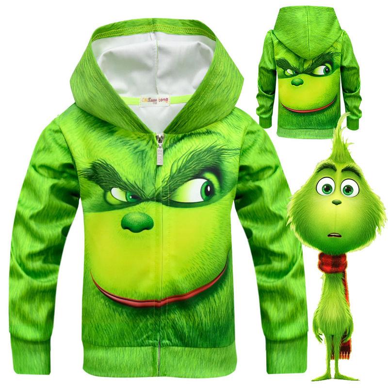 New Green Cosplay Costume coat Boy Halloween Christmas Carnival Long Sleeve Costume for Kids Sportswear Clothes Boy Streetwear