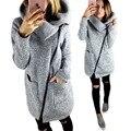 Mujeres de la manera Caliente de Invierno Fleece Con Capucha Parka Cremallera Abrigo Largo Outwear Jacket Casual Femenina Chaqueta gris suéter ropa