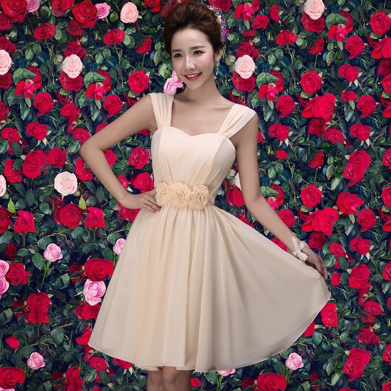 2017 new   Bridesmaid     Dresses   plus size stock cheap under $50 sexy romantic sister simple elegant fashion champane short chiffon