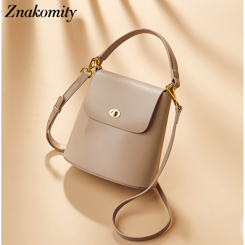 Znakomity Luxury Designer Womens Genuine Leather Handbags Small Bucket Shoulder Bags Female Fashion Shopper Tote Crossbody BagsZnakomity Luxury Designer Womens Genuine Leather Handbags Small Bucket Shoulder Bags Female Fashion Shopper Tote Crossbody Bags