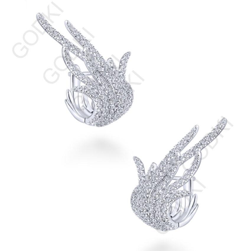 GODKI Elegant Famous Design Leaf Full Mirco Paved Microl Zirconia Wedding Earring Fashion Jewelry godki 67mm luxury trendy elegant design full mirco paved cubic zirconia naija wedding drop earring fashion jewelry