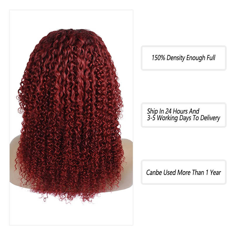 T1B 99J Red Lace Human Hair Wigs Pre Plucked 4*4 Afro Kinky Curly Closure Wig Ombre Burgundy Peruvian Remy Human Hair Lace Wigs
