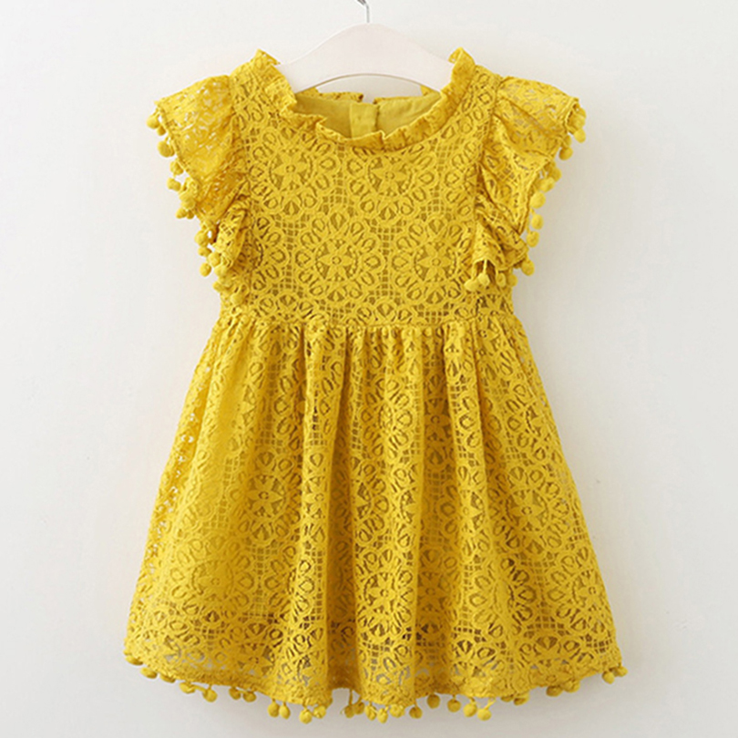 Girls Dress 2018 New Style Summer Kids Bright color Cute Lace Dress Children Sleeveless Princess Dress Children Clothes Dresses