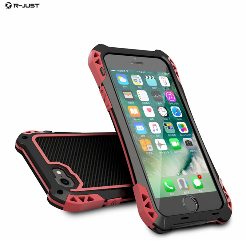 uk availability 7b031 48f48 US $17.83 13% OFF|R JUST For iPhone 8 8 Plus Waterproof Metal Alloy Carbon  Fiber Phone Case Heavy Duty Shockproof Armor Cover For iphone8 i8 Plus-in  ...