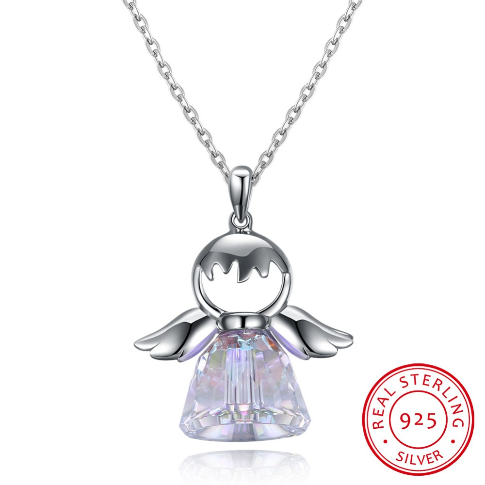 925 sterling silver necklace crystal from Swarovski Woman Korean version of the crystal angel wings pendant Wedding Jewelry 925 sterling silver zircon pendant silver angel wings