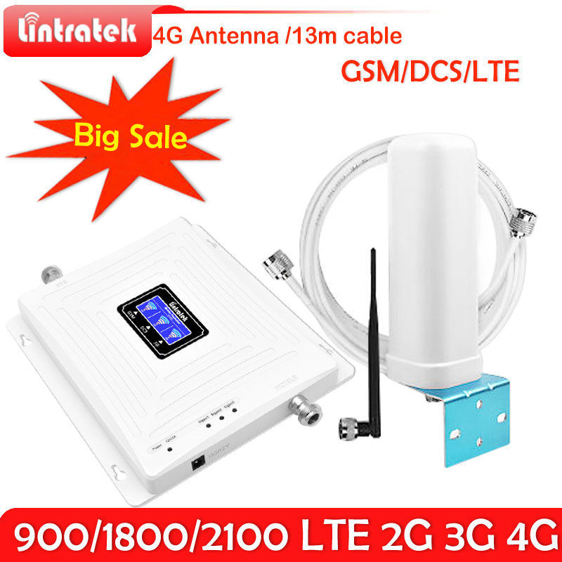 Lintratek GSM 900 LTE 1800 WCDMA 2100 Mhz Mobile Cellular Signal Repeater 2G 3G 4G Tri-band Cell Phone Signal Booster 4G AntennaLintratek GSM 900 LTE 1800 WCDMA 2100 Mhz Mobile Cellular Signal Repeater 2G 3G 4G Tri-band Cell Phone Signal Booster 4G Antenna