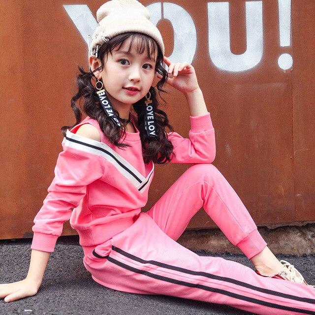 84dd1780e04b Bambini delle ragazze del cotone maglione a due pezzi a maniche lunghe a  righe sport suits