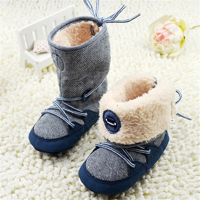0-18M Baby Boys Winter Warm Snow Boots Newborn Lace -Up Soft Sole Shoes Infant Toddler Kids Fashion Stripped Wool Warm Shoes image