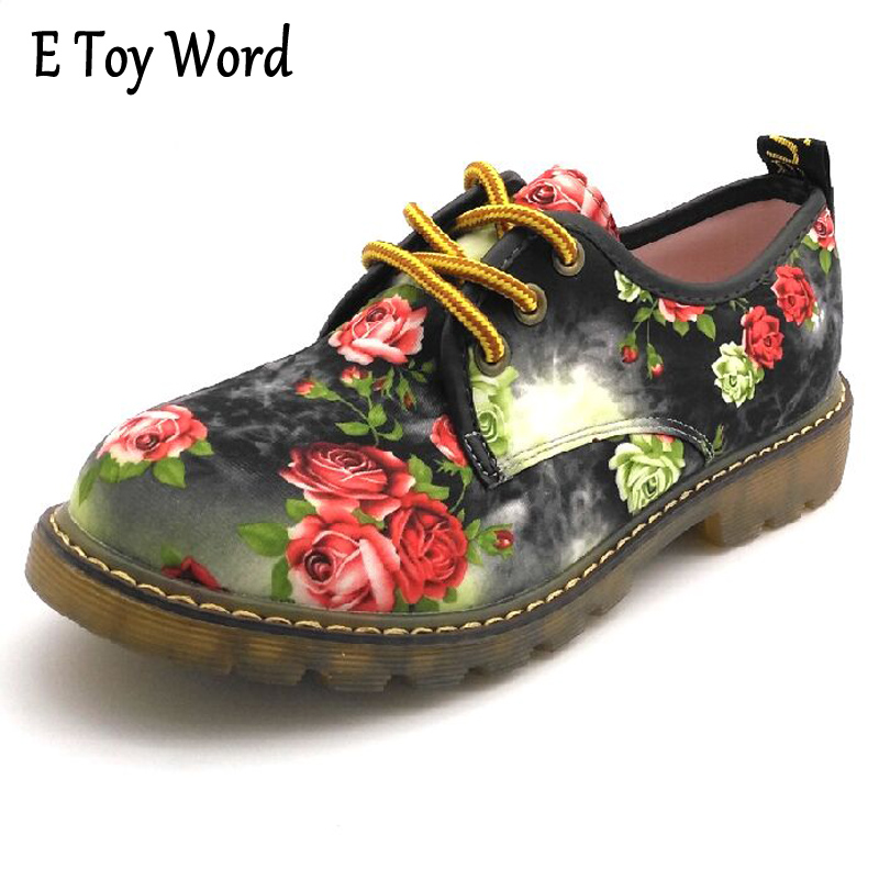 E TOY WORD 2017 Spring Floral Printed Canvas Antiskid Women Shoes Casual Ladies Lace Up Flat Shoes Woman Factory Outlet e toy word canvas shoes women han edition 2017 spring cowboy increased thick soles casual shoes female side zip jeans blue 35 40