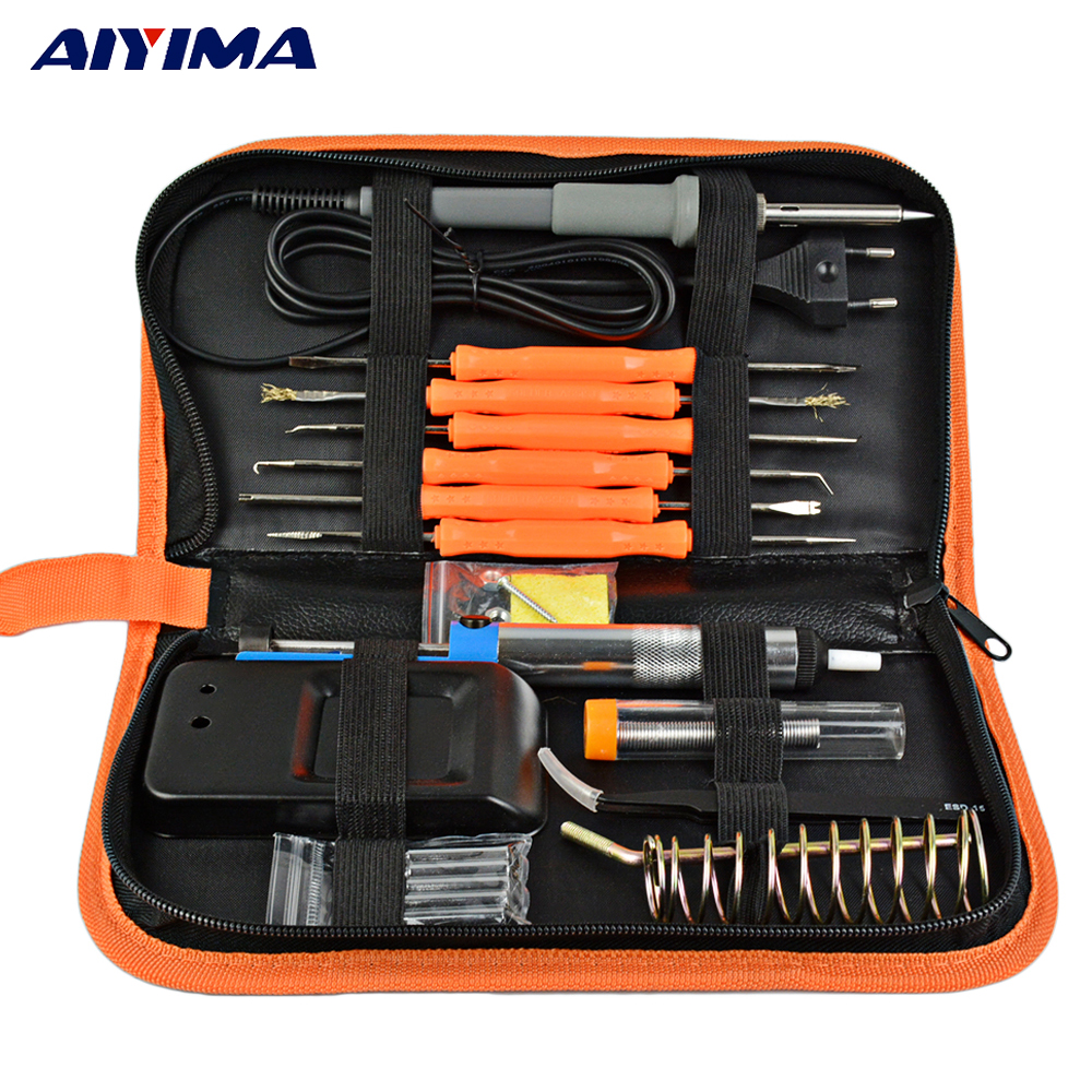 Aiyima EU Plug 220V 60W Electric Soldering Iron Kit+5pcs Tips Adjustable Temperature Solder Wire Portable Welding Repair Tool цена