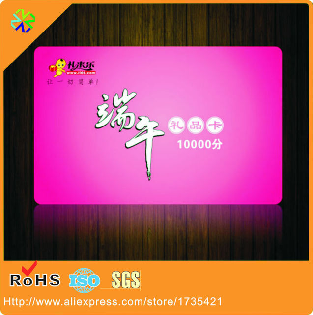 1000pcs/lot CR80 credit card size custom artwork CMYK 4 colors printing hard pvc plastic gift card