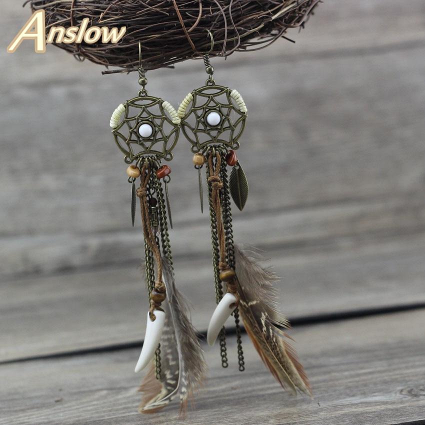 Anslow Fashion Jewelry Hot Sale Design Hexagram Dreamcatcher Drop Earrings Leaves Feather Ivory Women Drop Tassel