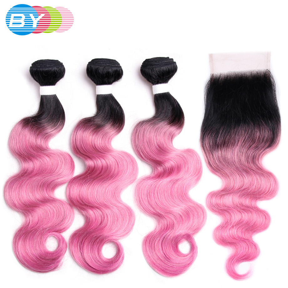 BY Pre Colored Non Remy One Pack Brazilian Body Wave With Lace Closure Free Part Human