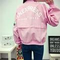 NUEVO Loose Chaqueta de Bombardero Pink 2016 Harajaku Impresión Bordado Mujeres Básica Abrigos de Moda Chaqueta Informal de Gran Tamaño Cardigan Colegio
