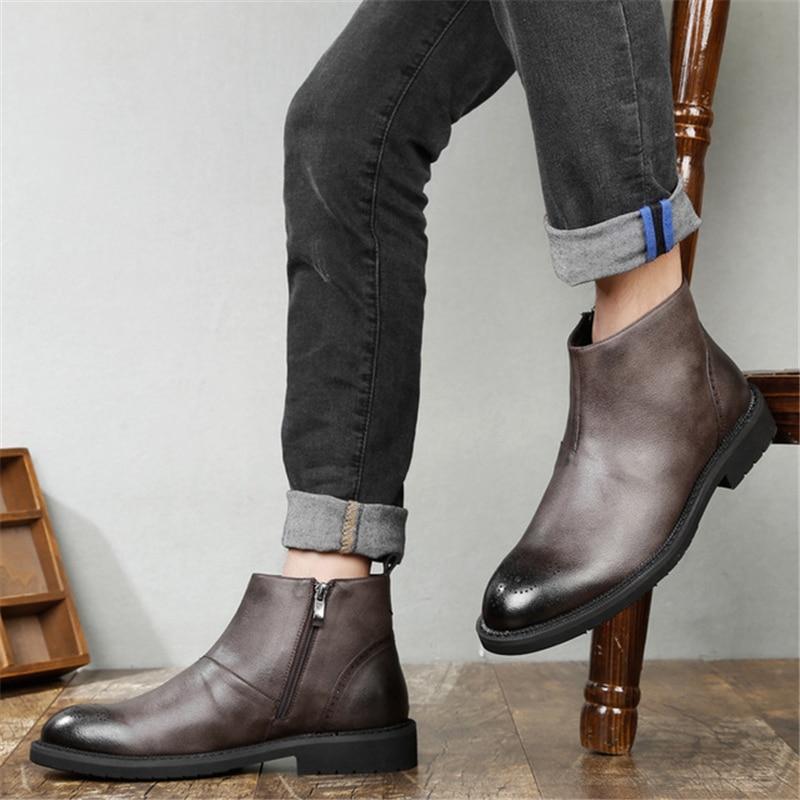 Personnalisé Mâle Bout Hommes Cuir Beau Bottes De Éclair Travail Rue Fermeture D'hiver Aa51588 En gris Chaussures Noir Rond Confortable zMpUVS