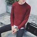 2016 nova Outono inverno estilo Europeu simples Quente Hedging tricotar Camisolas homens vermelhos casuais lavagem magro Camisolas para homens, M-2XL
