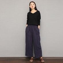 2019 Spring Autumn  Women New Ankle-length Pants Leisure Linen Wide Leg