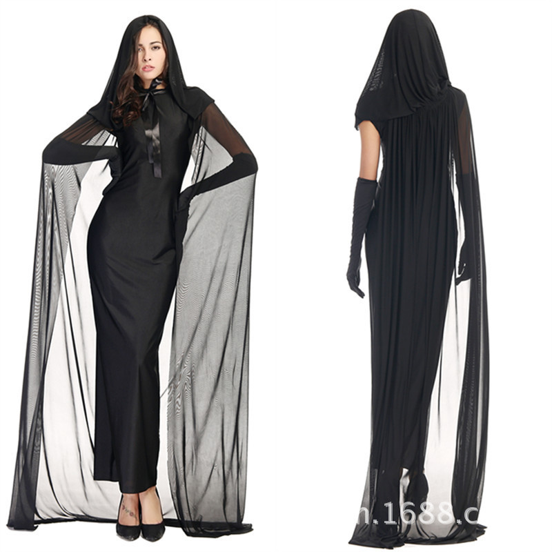 grande remise chaussures authentiques profiter de prix discount US $19.95 5% OFF|Black Night Wandering Soul Ghost Vampire Dress Costume  With Floored Hooded Cape For Woman Girl Halloween Party Cosplay XXS XXL-in  ...
