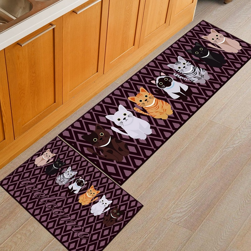 Cartoon Printed Kitchen Area Rug rectangle mat in the ...