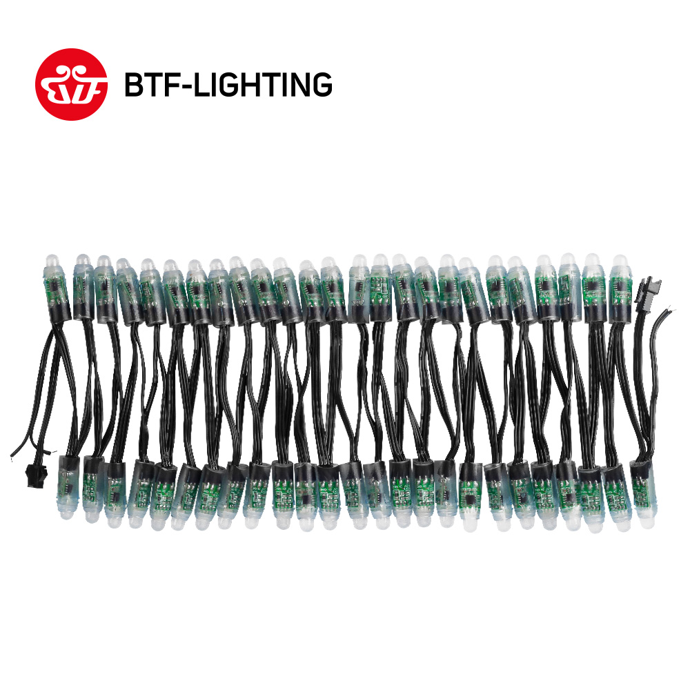 WS2811 DC 5V 12V 12mm WS2811 LED Module Black Green White RWB Wire IP68 waterproof Pixels string Christmas light