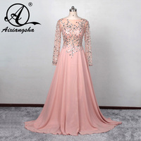 robe de soiree 2018 New A line Bateau Beaded Sequins Pink Long Evening Party Dress vestido de festa Long Sleeve Prom Dresses