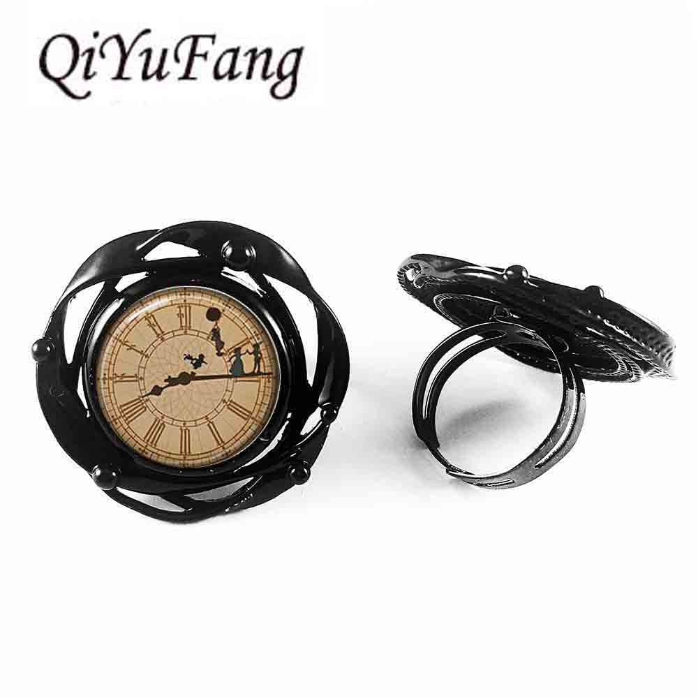 Man Inspired US Movie Peter pan time watch flower big ring brass silver flower big ring steampunk Jewelry Gift women new mens