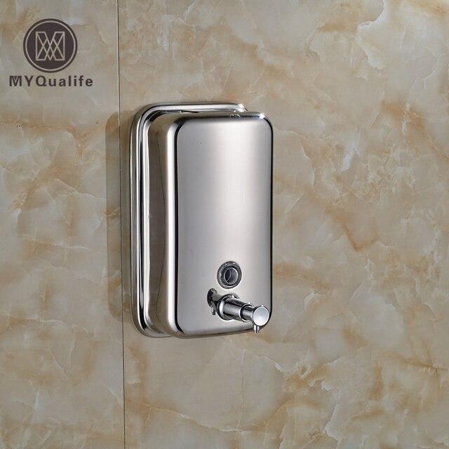 Wall Mount 500ml Stainless Steel Bathroom Shampoo Liquid Soap Dispenser Chrome Finish