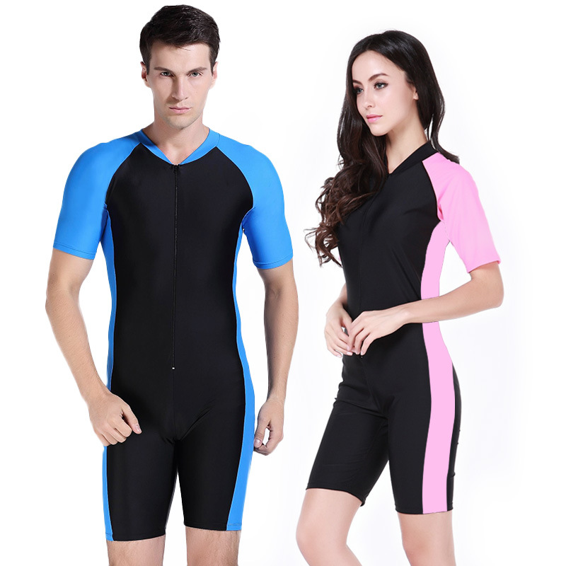 mens wetsuits women surfing diving suit couple sunscreen swimwear Bodysuit Scuba Dive Wet short sleeve swimsuit snorkeling