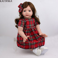 KAYDORA 24 Inch 60cm Silicone Doll Reborn Baby Alive Toddlers Realistic Lifelike Baby Girl Toys With Long Hair Bebe Reborn