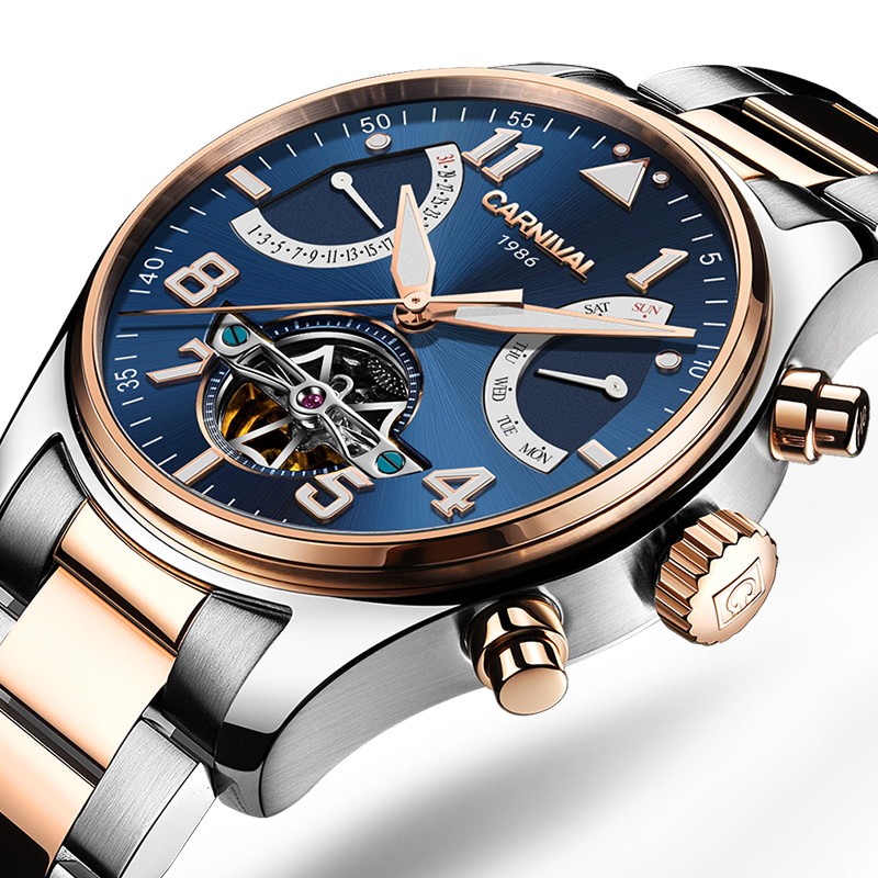 Carnival Watch Men tourbillon Automatic Mechanical Luminous Rose gold Stainless Steel Waterproof multifunction Blue Watches