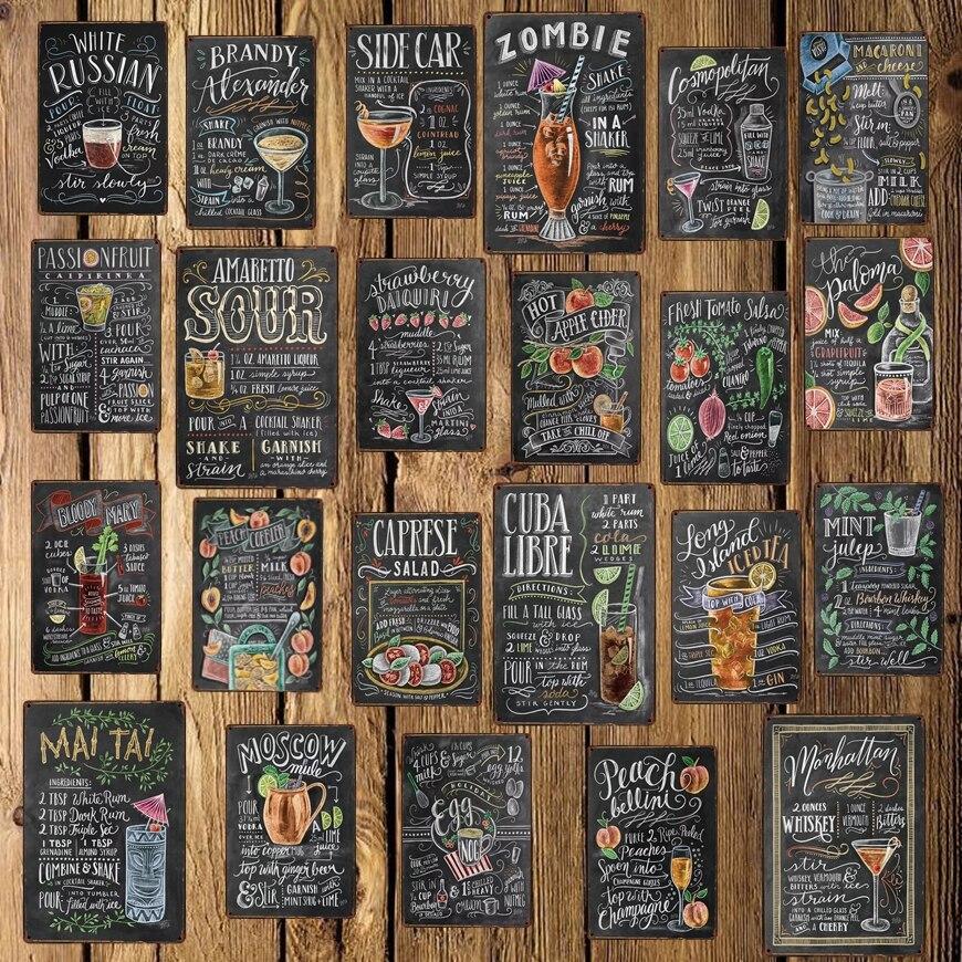 [ Mike86 ] Cocktail Beer Wine Metal Poster Hotel Pub Vintage Mural  Rust Painting art Sticker Art 20*30 CM LT-1744