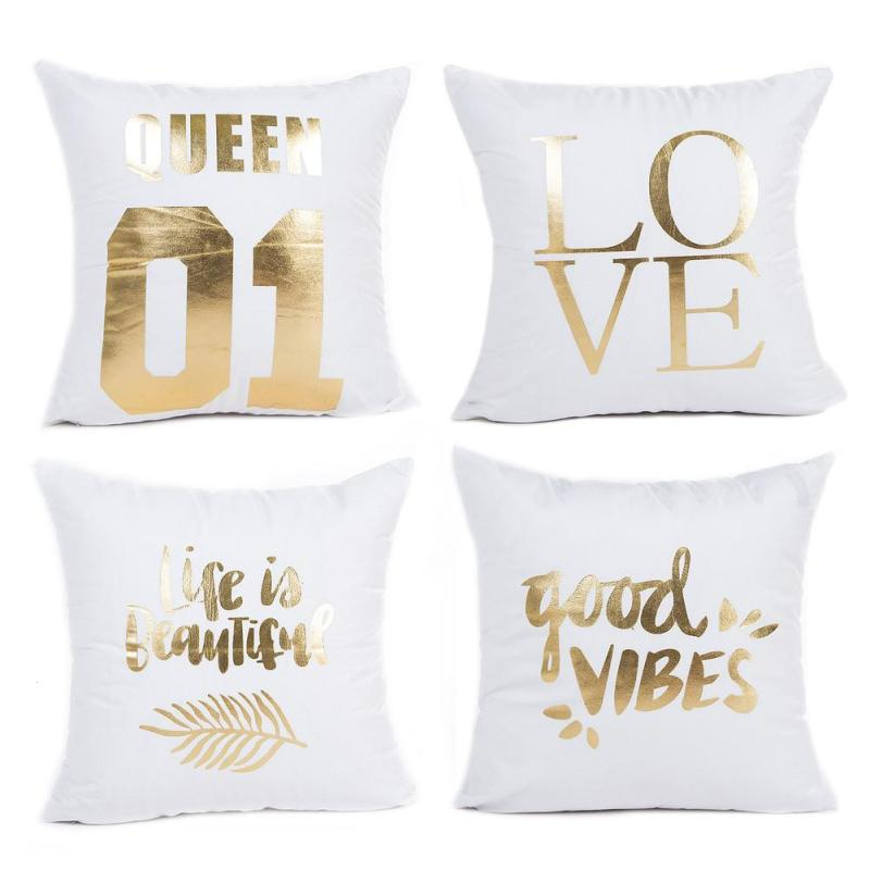 Gold Bronzing White Square Pillowcase Home Bedroom Decorative Cushion Cover Sofa Chair Car Seat Pillow Throw Bag Cushion Case V2