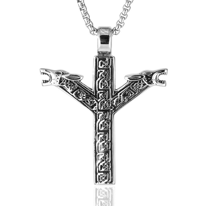 Men Punk 316L Stainless steel Norse Vikings Rune Wolf Heads pendant Necklace Tribal Animal Men Jewelry 24 quot in Pendant Necklaces from Jewelry amp Accessories