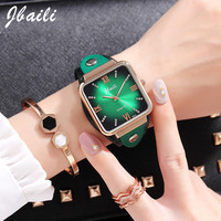 Casual Fashion Womens Watch Unique Square Dial Green Leather Band Quartz Womens Laides Watches Relogio Feminino